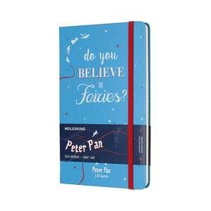 Moleskine Peter Pan Limited Edition Fairies Cerulean Blue Large Ruled Notebook Hard