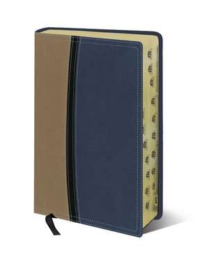 NIV Study Bible, Personal Size, Leathersoft, Tan/Blue, Red Letter, Thumb Indexed de Zondervan