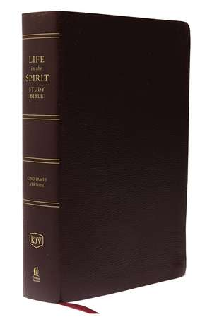 KJV, Life in the Spirit Study Bible, Bonded Leather, Burgundy, Indexed, Red Letter Edition: Formerly Full Life Study de Thomas Nelson
