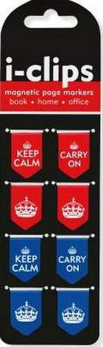 Keep Calm & Carry on I-Clips Magnetic Page Markers (Set of 8 Magnetic Bookmarks)