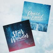 Festive Text 10-Pack Christmas Cards: Star of Wonder and Peace on Earth