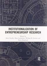 Institutionalization of Entrepreneurship Research