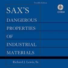 Sax′s Dangerous Properties of Industrial Materials, Set CD–ROM
