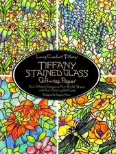 Tiffany Stained Glass Giftwrap Paper: Four Different Designs on Four 18X24 Sheets With Four Matching Gift Cards