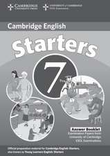 Cambridge Young Learners English Tests 7 Starters Answer Booklet: Examination Papers from University of Cambridge ESOL Examinations