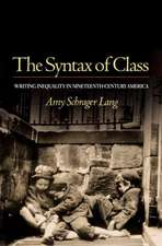 The Syntax of Class – Writing Inequality in Nineteenth–Century America