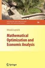 Mathematical Optimization and Economic Analysis
