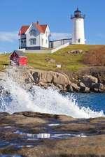 Crashing Waves at Nubble Lighthouse Cape Neddick York Maine USA Journal