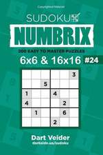 Sudoku Numbrix - 200 Easy to Master Puzzles 6x6 and 16x16 (Volume 24)