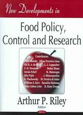 New Developments in Food Policy, Control and Research
