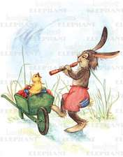 Rabbit Playing Flute- Easter Greeting Card