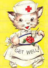Cat Nurse Get Well - Greeting Card