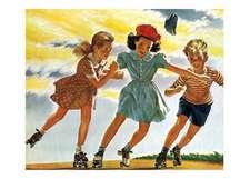 Children Roller Skating Friendship Card [With 6 Envelopes]