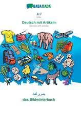BABADADA, Urdu (in arabic script) - Deutsch mit Artikeln, visual dictionary (in arabic script) - das Bildwörterbuch