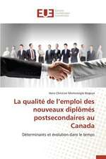 La Qualite de L'Emploi Des Nouveaux Diplomes Postsecondaires Au Canada:  Codage Et Simulation