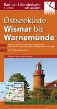 Rad- und Wanderkarte Ostseeküste Wismar bis Warnemünde 1 : 40 000