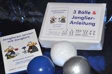 3 Bälle & Jonglier-Anleitung(blau, weiß, silber)