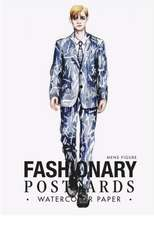 Fashionary Watercolor Postcards Book Men